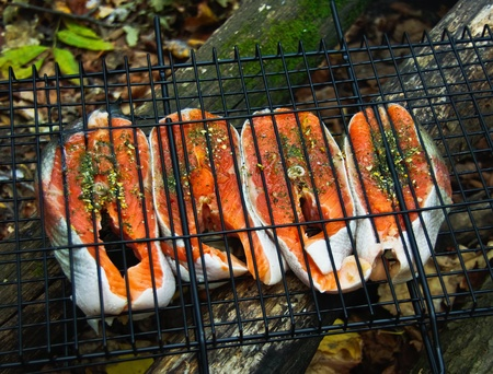 fish fire: cooking red fish trout on the grid for a barbecue