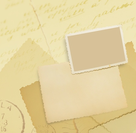 Vintage background with old postcards and photographs  Old postcard with photo-frame and blank in sepia colors