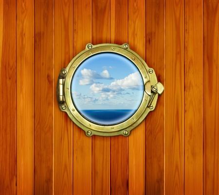 Porthole on the wooden background - nautical window  Ship porthole at the old sailing vessel