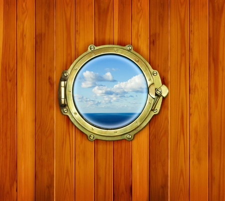 Porthole on the wooden background - nautical window  Ship porthole at the old sailing vessel  photo