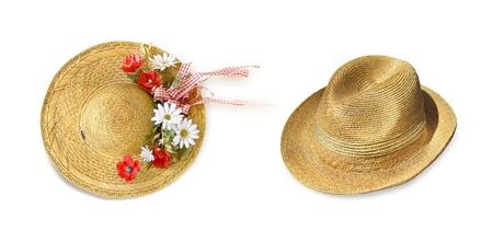 chapeau de paille: Les chapeaux de paille du soleil - pour les hommes et les femmes chapeau en osier naturel avec des fleurs et des rubans Banque d'images