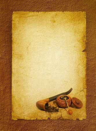 Tobacco pipe, snuffbox and tobacco accessory  Vintage paper background on the brown leather texture  Stock Photo - 13378668