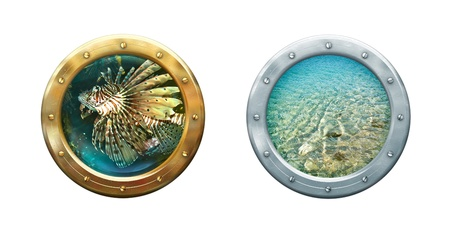 Submarine porthole - ship windows with seascape  Metal frames border on sea porthole  Nautical underwater concept for your maritime interior  photo