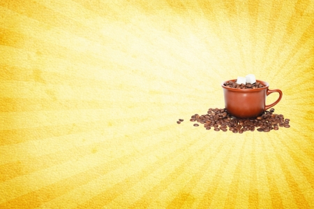 runge background with coffee beans, cup of coffee and sugar photo