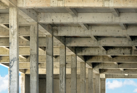 reinforced:  Reinforced concrete structure of building under construction Stock Photo