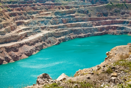 Open pit mine with lake photo