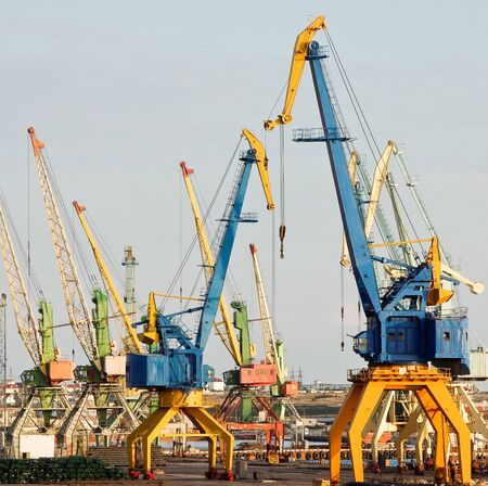 freighter: Industrial cargo seaport with cranes