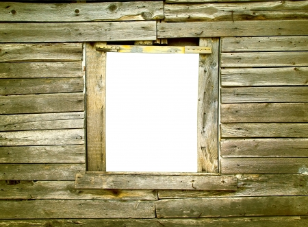 Wooden wall with window hole in the old house photo