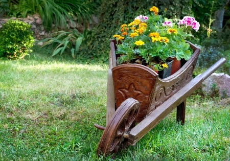 Wooden wheelbarrow with flowers for the garden design photo
