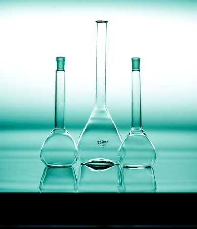 reagents: Glass flasks in a chemical laboratory, lab glassware