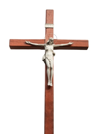 Crucified Jesus Christ - Catholic Crucifix isolated on white  photo