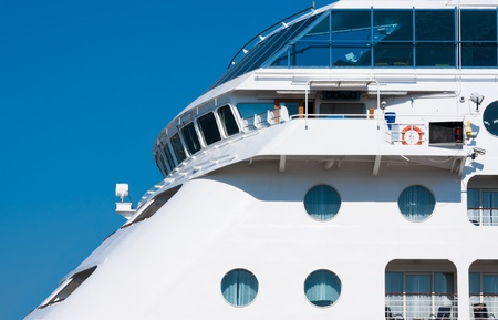 View from the upper deck of a cruise ship photo