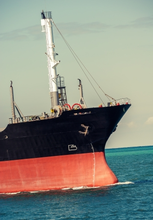 marine industry: cargo ship with a draft scale numbering of waterline Stock Photo