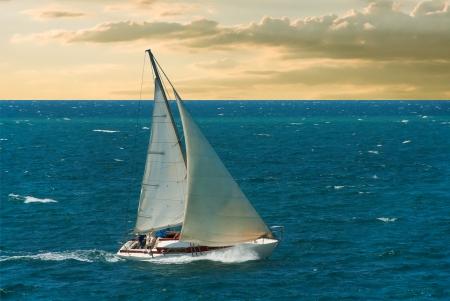 Sea voyage on yacht Stock Photo