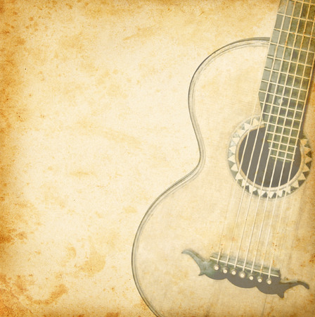 Old guitar for music design photo