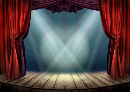 스포트 라이트와 연극 무대 스톡 콘텐츠