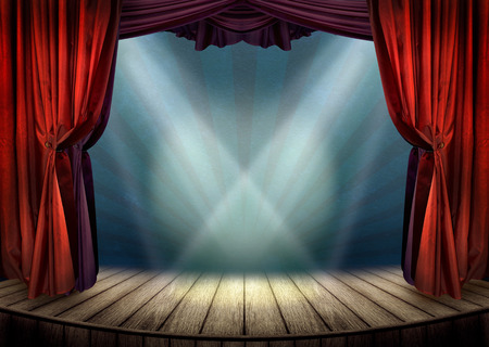 Theater stage with spotlights photo