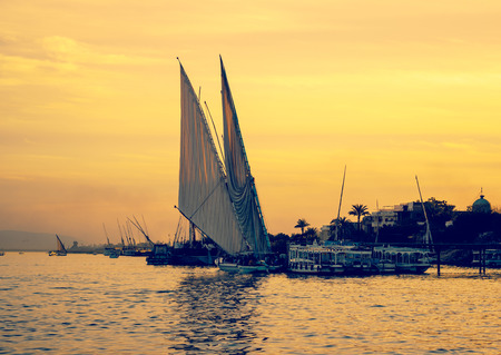 nile river: Sunset on Nile river
