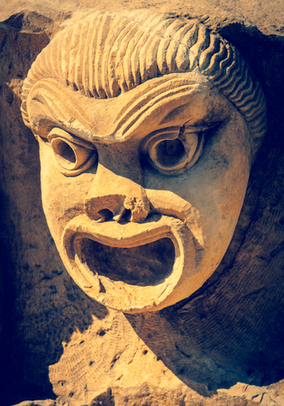 comedic: Antique theatrical mask Stock Photo