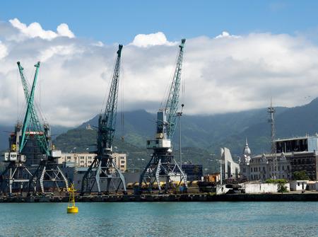 Batumi seaport with gantry cranes