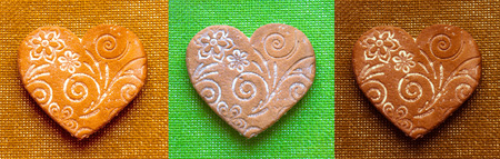 Holiday Gingerbread - bright hearts in retro style, sweet gifts for lovers. Colored hearts with vintage texture. Homemade sweet goodies for the Holidays on Valentine Day.