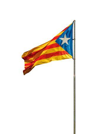 Flag of Blue Estelada or Senyera Estelada - protest sign of Catalan Republic, symbol of freedom and independence of Catalonia.