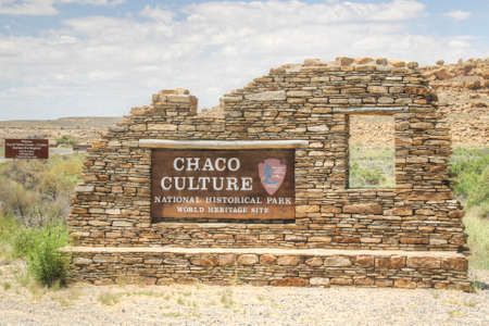 chaco: Entrance lable to the national park Chaco Culture in the chaco wash in New Mexico Stock Photo