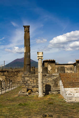 archeological: Pilars and stairs of the archeological Pompeii city in Italy