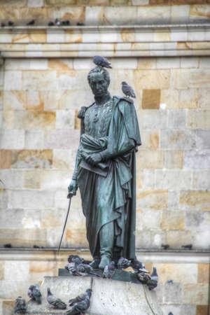 Estatua de Sim�n Bol�var en la Plaza Bol�var, en Bogot�, Colombia Foto de archivo - 21607425