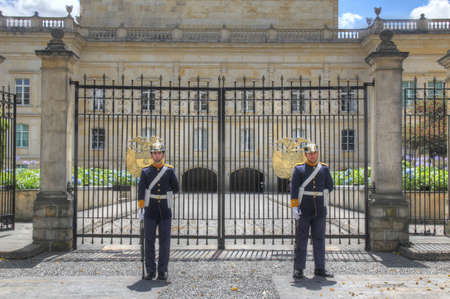 guard house: Guard of the president of Colombia in front of his house in Bogota