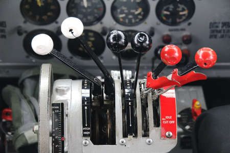 DC3 airplane thrust contol cockpit Stock Photo