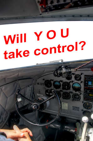 Cockpit of DC3 airplane with pilot not taking control Stock Photo - 21786023