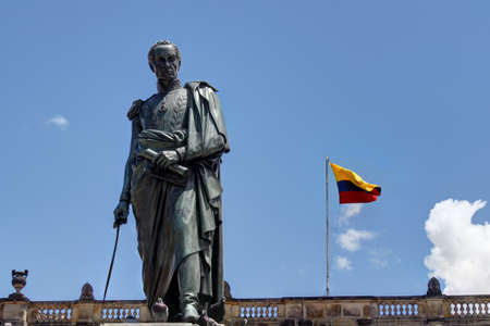 plaza: Statue of Simon Bolivar in Bogota with Capitol behind Stock Photo