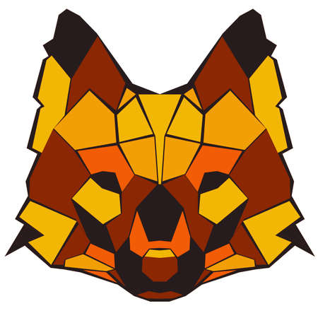 coyote: Red Wolf. Geometric vector hand drawn illustration Illustration