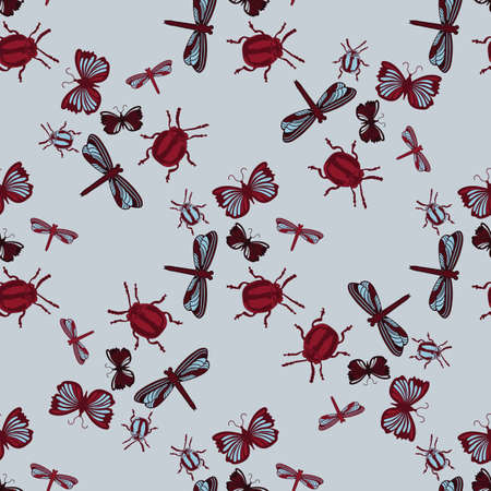 beetles: Insects Background seamless Pattern. Dragonflies, beetles butterflies Illustration