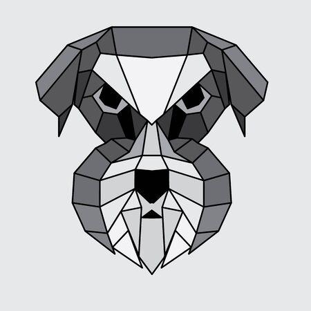 schnauzer: Geometric grey, black and white polygonal Schnauzer
