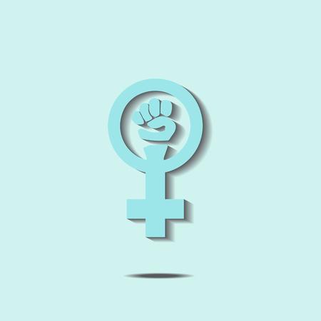 Blue feminism sign. Vector illustration. Female rights