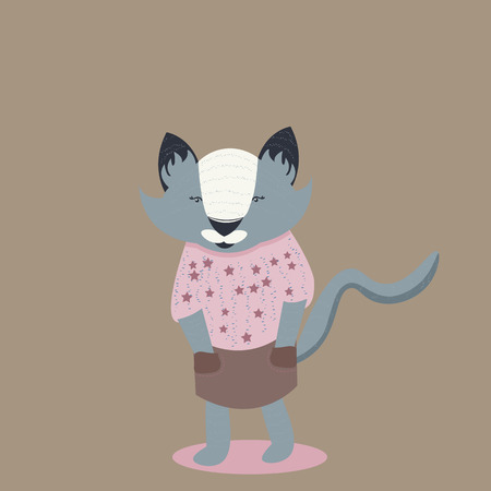 gray cat: Gray cat in brown skirt. Flat and nice design