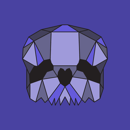 morbid: Violet low poly skull. Geometric line art Illustration