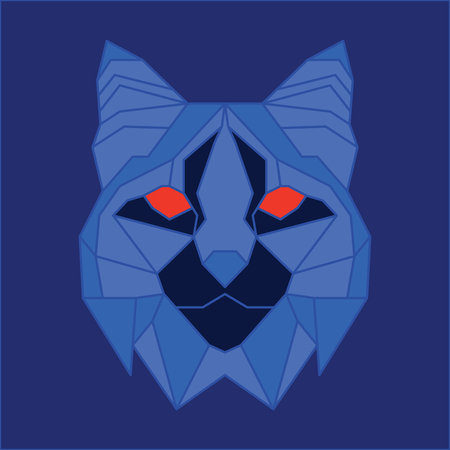 lince rojo: bajo lince poli azul. arte geom�trico l�nea Vectores