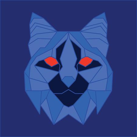 bobcat: Blue low poly bobcat. Geometric line art