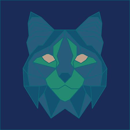 bobcat: Green and blue low poly bobcat. Geometric line art Illustration