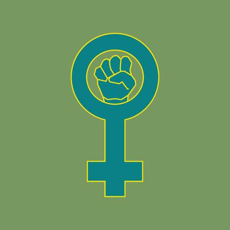 feminism: Green feminism symbol. Geometric simple line art Illustration