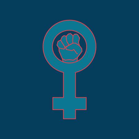 girl fist: Blue feminism symbol. Geometric simple line art