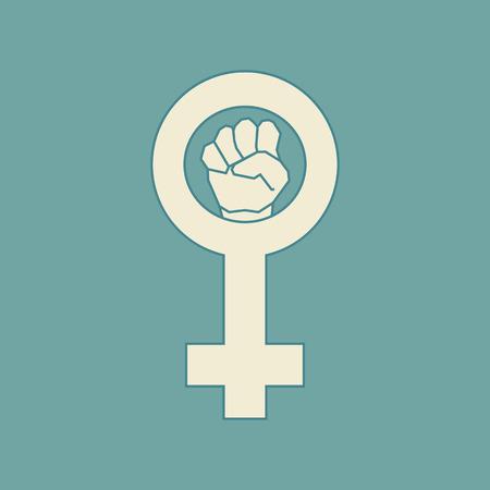 suffrage: Beige feminism symbol. Geometric simple line art