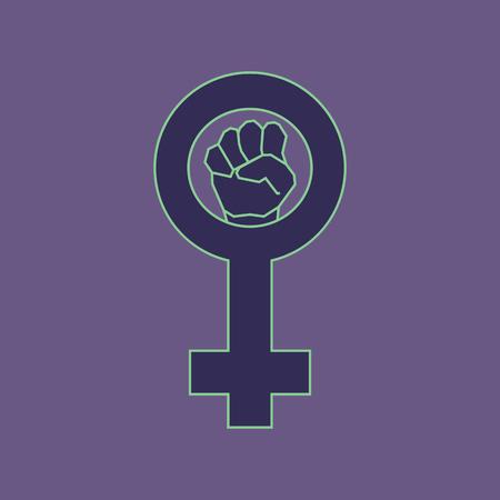 feminism: Violet feminism symbol. Geometric simple line art