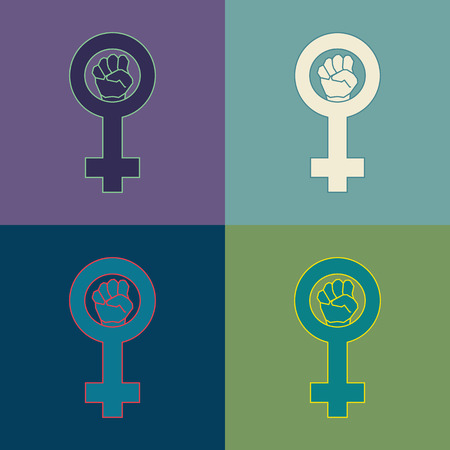 suffrage: Feminism geometric symbol set. Four color variations Illustration