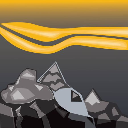Simple gray mountains. Geometric paper application landscape Illustration