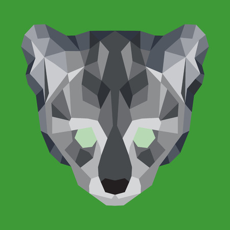 Gray low poly ocelot. Geometric simple art Illustration