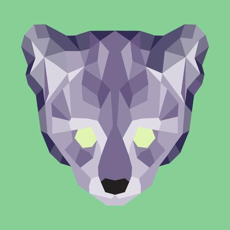 lurk: Violet low poly ocelot. Geometric simple art Illustration